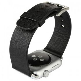 Tuff-Luv Classic Buckle Genuine Leather WatchBand for the Apple Watch 42mm - Black