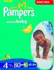 Pampers - Active Baby Nappies - Size 4 - Giant Pack (80 count)