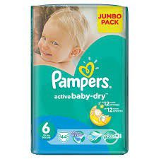 Pampers - Active Baby Nappies - Size 6 - Jumbo Pack (44 count)