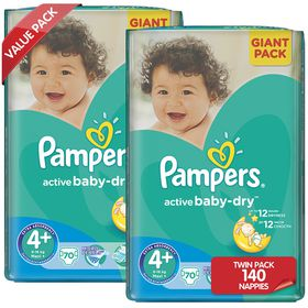 Pampers - Active Baby Nappies - Size 4+ - Giant Twin Pack (2 x 70 count)
