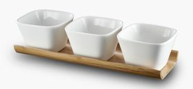 Russell Hobbs - Classique Metropolitan Bamboo Board With 3 Square Snack Bowls