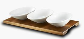 Russell Hobbs - Classique Metropolitan Bamboo Board With 3 Oval Snack Bowls