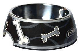 Rogz - 2-in-1 Bubble Dog Bowl - Medium - Black Paw Design - 350ml