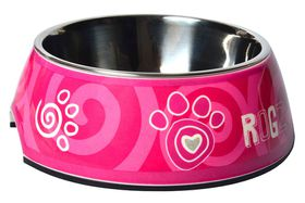 Rogz - 2-in-1 Bubble Dog Bowl - Large - Pink Paw Design - 700ml