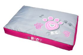 Rogz Flat Podz Dog Bed - Large - Pink Paw Design