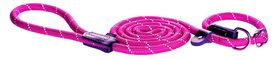 Rogz Rope Medium 9mm 1.8m Long Moxon Dog Rope Lead - Pink Reflective