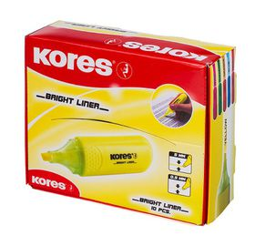 Kores Bright Liner Chisel Tip Highlighters - Yellow (Box of 10)