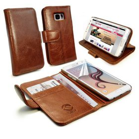 Tuff-Luv Vintage Leather Wallet/Stand Case Cover For the Samsung Galaxy S7 - Brown