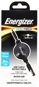 Energizer Micro-USB Retractable Cable - Black