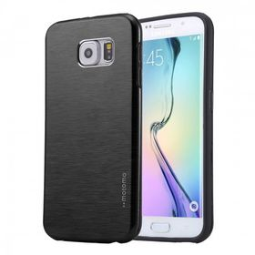 Tuff-Luv Brushed Metal Effect Twin Layer Armour Gel Case for Samsung Galaxy S6 Edge Plus - Black