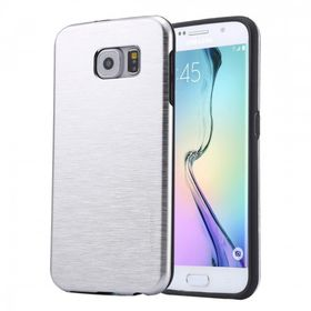 Tuff-Luv Brushed Metal Effect Twin Layer Armour Gel Case for Samsung Galaxy S6 Edge Plus - Silver