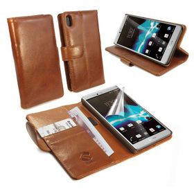 Tuff-Luv Vintage Leather Wallet / Stand Case Cover for Sony Xperia Z5 - Brown
