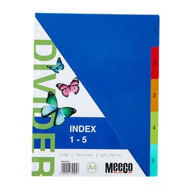 Meeco A4 5 Tab (1-5) Bright Multi Colour Dividers