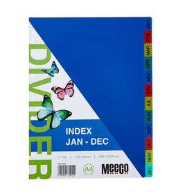 Meeco A4 12 Tab (Jan-Dec) Bright Multi Colour Dividers