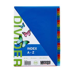 Meeco A4 26 Tab (A-Z) Bright Multi Colour Dividers