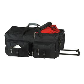 Eco Dual Front Pocket Rolling Travel Duffle - Black