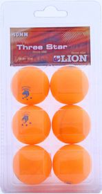 Lion Three Star Table Tennis Balls (Orange)