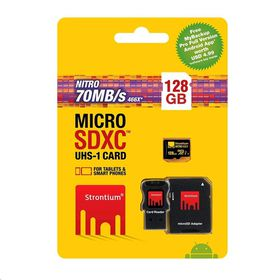 Strontium 128GB Nitro Micro SDHC 466X UHS-1 Card with Adaptor