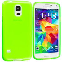 Protective Matte Gel Skin Cover Case for the Samsung Galaxy S5 i9600 - Lumo Green