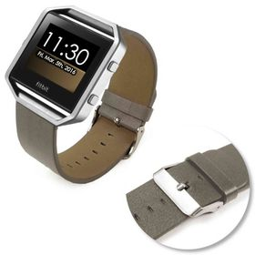 Tuff-Luv Genuine Leather Strap/Wristband for the Fit Bit Blaze - Grey
