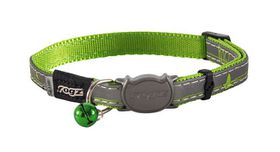 Rogz Night Cat Reflective Safeloc Breakaway Collar - Lime Swallows Design