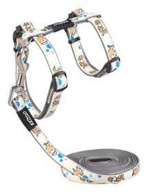 Rogz Glow Cat Reflective Glow-In-The-Dark Lead & H-Harness Combination - Gold Fish Design