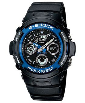 Casio Mens AW-591-2ADR G-Shock World Time Anadigital Watch