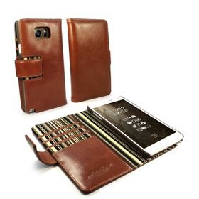Tuff-Luv Alston Craig Vintage Genuine Leather Wallet Case Cover for Samsung Galaxy Note 5 (Inc Screen Protector) - Brown