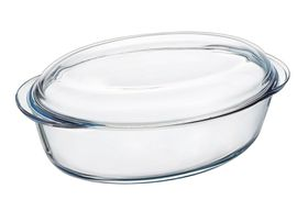 Pyrex - Essentials Glass Oval Casseroles Sticker Version With Lid - 3 Litre and 1 Litre