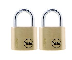 Yale - 30mm Brass Padlock - 2 Pack Keyed Alike
