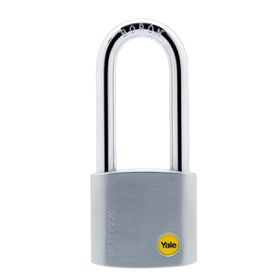 Yale - 50mm Brass Satin Chrome Padlock Long Shackle
