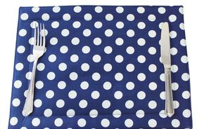 Balducci - Set Of 6 Shweshwe Placemats - Navy Polka Dot