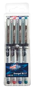 Pentel Energel 0.7mm Liquid Gel Roller Ball Pens - Wallet of 4