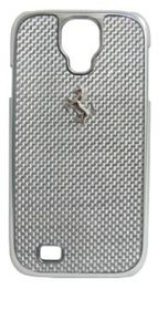 Ferrari GT for Samsung Galaxy S4 White Carbon Case - Silver Frame