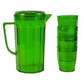 Lumo - Plastic Jug with 4 Tumblers - Emerald Green