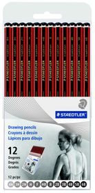 Staedtler Tradition 12 Assorted Degrees Graphite Drawing Pencils in Easel Box