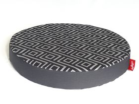 Wagworld - Round Lazy Lounger Dog Bed - Geo Charcoal & Grey