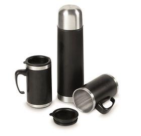 Creative Travel Cardinal Flask and Mug Set - Black