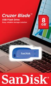 SanDisk Cruzer Blade 8GB USB Flash Drive - Electric Blue