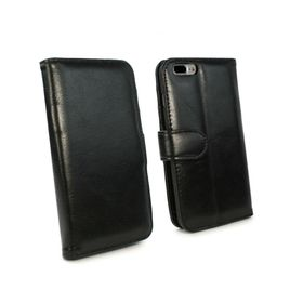 Tuff-Luv Vintage Leather Wallet and Screen Protector for iPhone 7 Plus - Black