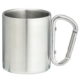 Eco - 220ml Double Wall Mug With Carabineer Handle - Silver