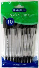 Marlin Astra-Line Medium Nib Ballpoint Pens - Black (Pack of 10)