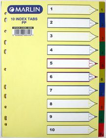 Marlin File 10 (1 - 10) Index Dividers Polyprop Bright Colours
