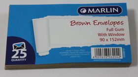 Marlin Brown Full Gum Window Envelopes - 25