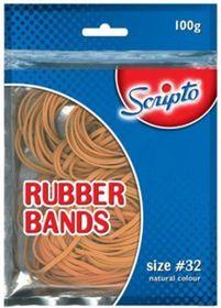 Scripto #32 Natural Colour Rubber Bands - 100g