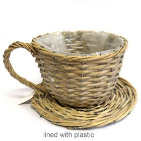 Pamper Hamper - Large Wicker Teacup - Grey
