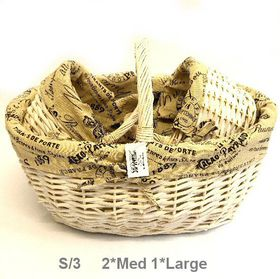 Pamper Hamper - Fabric Lined Baskets Set Of 3 - Cream