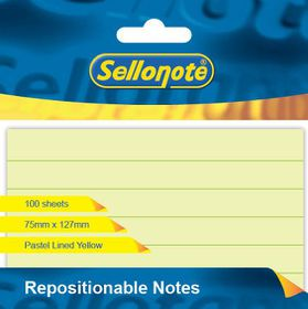 Sello-Note 100 Sheet Pastel Yellow Lined Repositionable Notes - 75 x 127mm