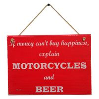 Prettish Motorcycle Happiness Sign - Beer