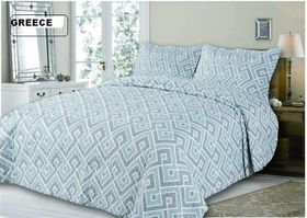 Simon Baker - Quilted and Printed Greece Comforter Set - Three Quarter